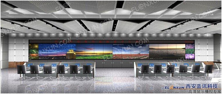 大型企业指挥中心部署西安蓝讯液晶拼接大屏系统